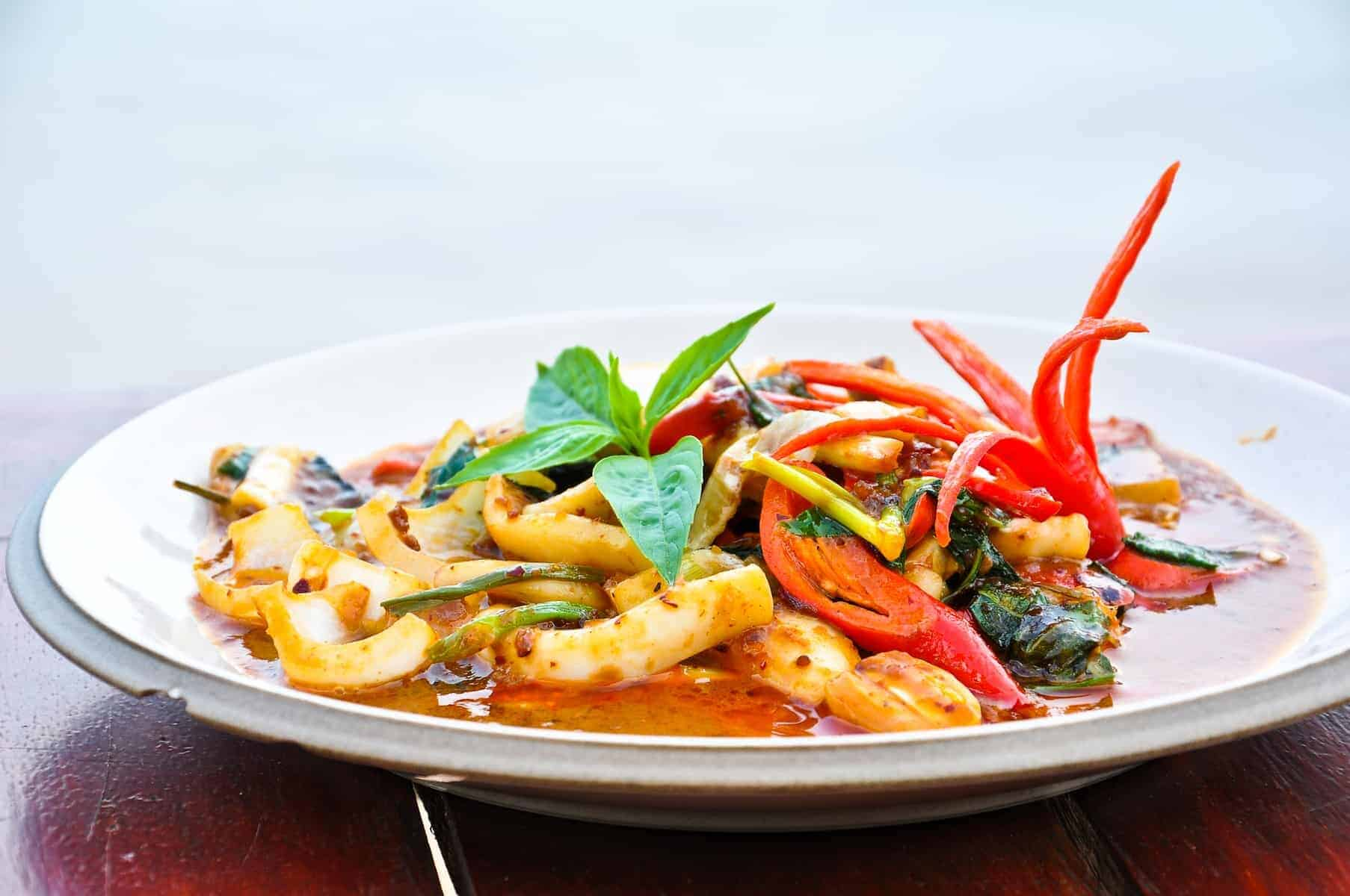 Thai food, octopus in curry sauce