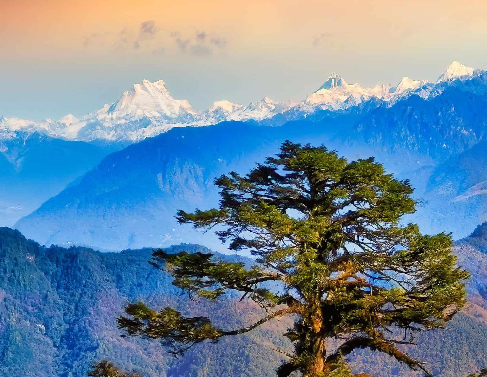 Gangkhar Puensum, højeste klippetop over 7000 m. i Bhutan.