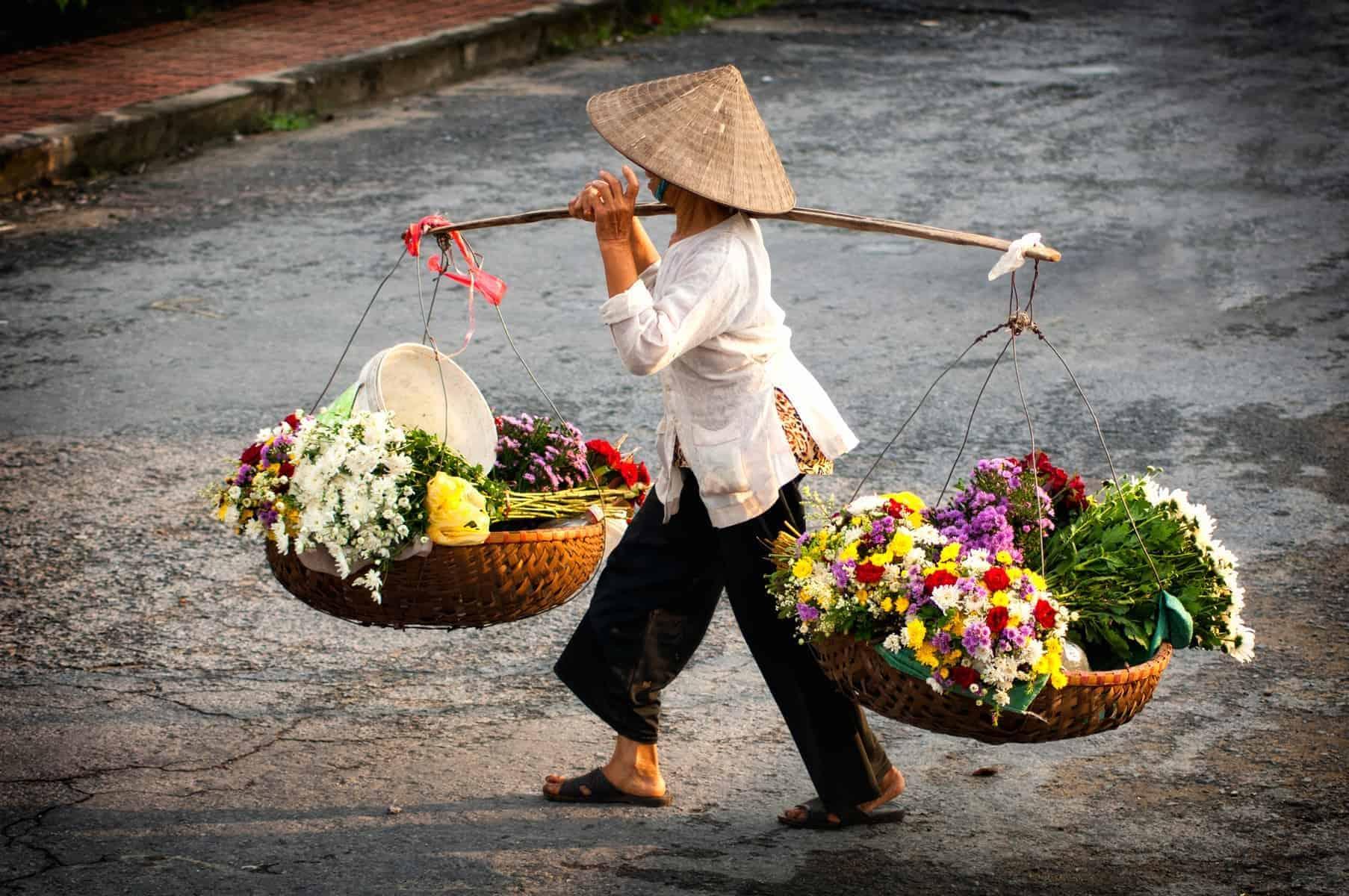Hanoi florist vendor on Hanoi street, Vietnam