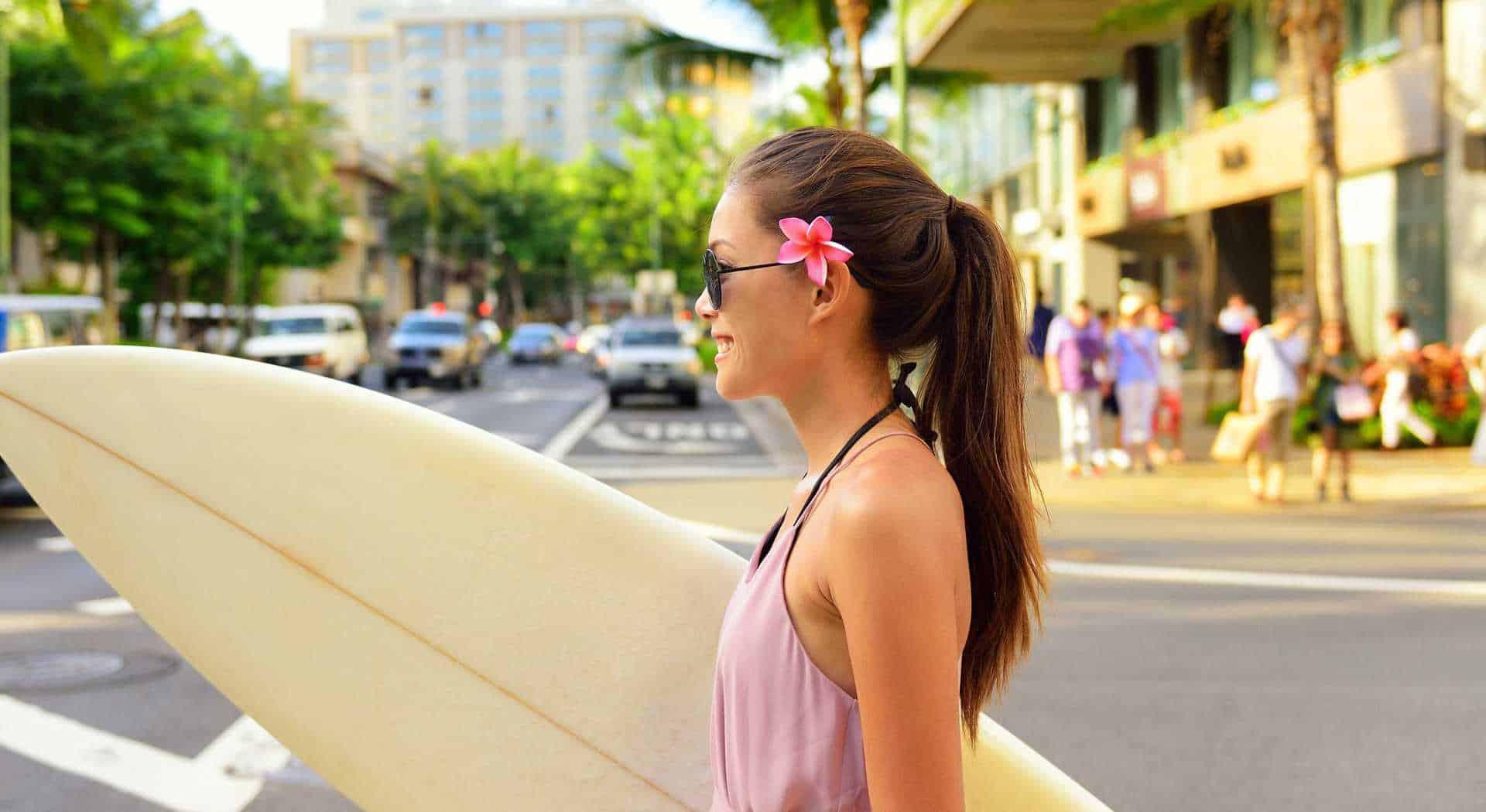 Honolulu downtown, husk dit surfbræt altid