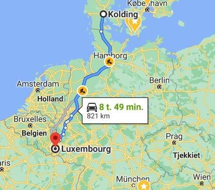 Rejser til Luxembourg, road map fra Kolding