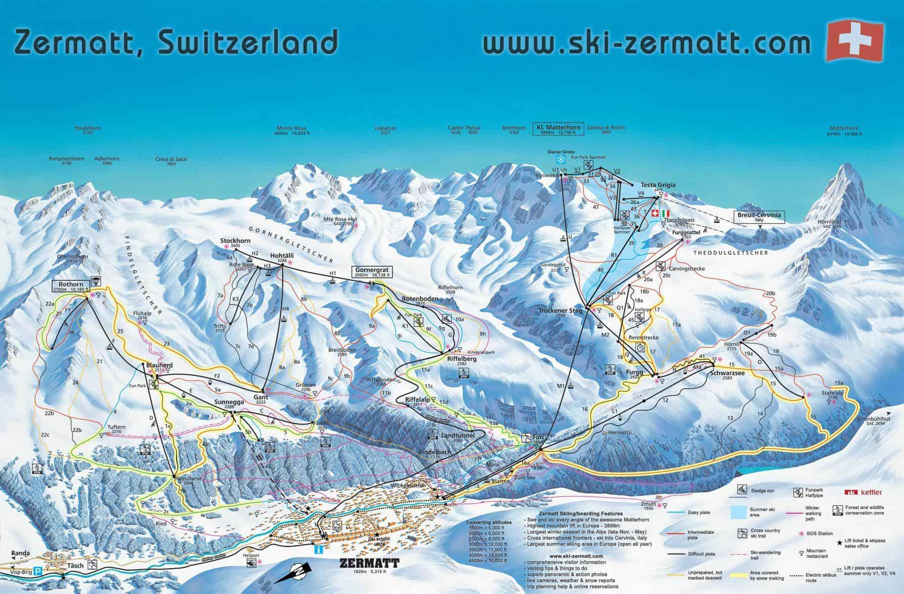Zermatt pistekort, Schweiz
