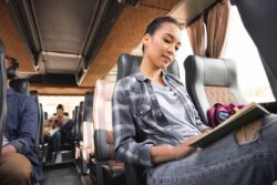 Bustravel asian girl and frined on bus trip
